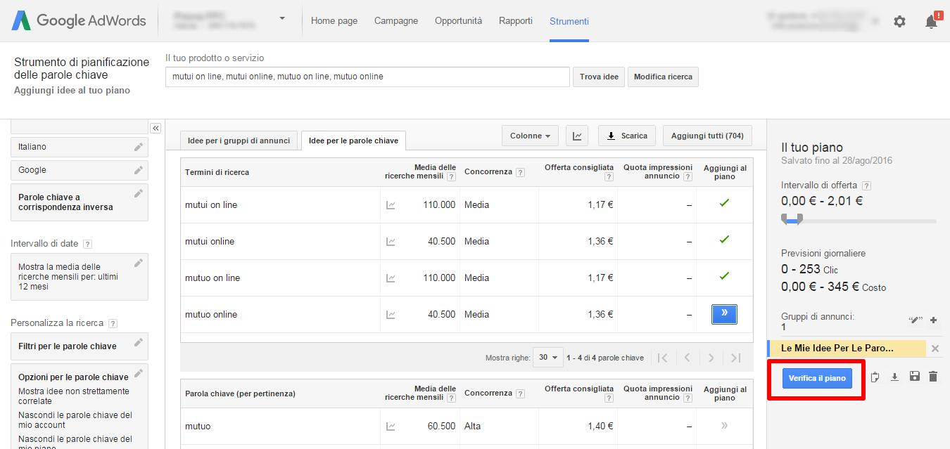 Chiavi google planner aggregate